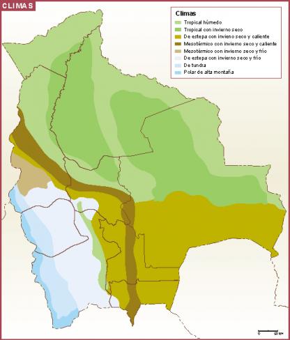 Bolivia mapa clima