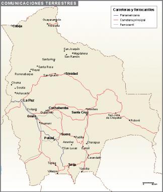 Bolivia mapa comunicaciones