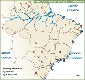 Brasil mapa aeropuertos puertos