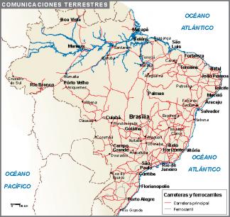 Brasil mapa comunicaciones terrestres