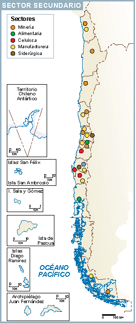 Chile mapa sector secundario