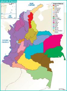 Colombia mapa grupos etnicos
