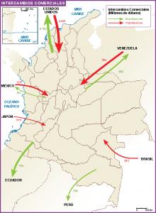 Colombia mapa intercambio comercial