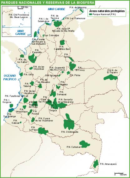 Colombia mapa parques