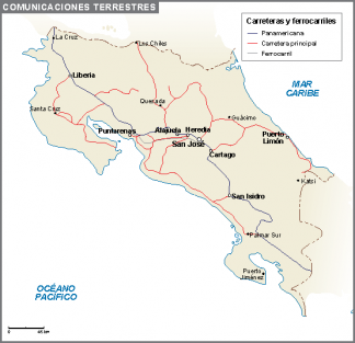 Costa Rica mapa comunicaciones terrestres