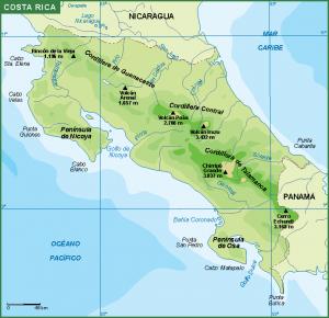 Costa Rica mapa fisico
