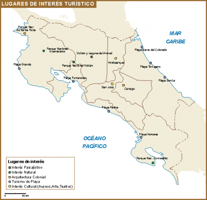 Costa Rica mapa interes turistico