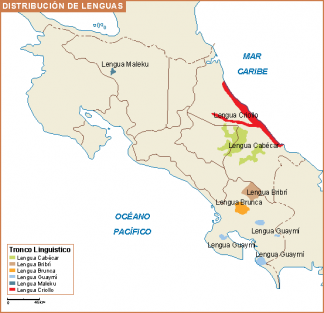 Costa Rica mapa lenguas