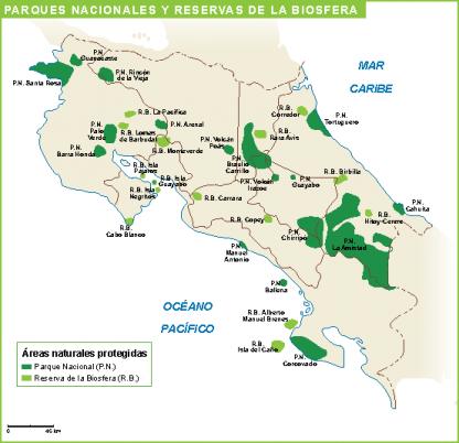Costa Rica mapa parques