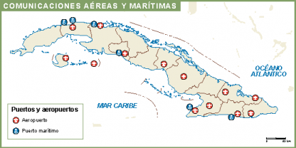 Cuba mapa aeropuertos puertos