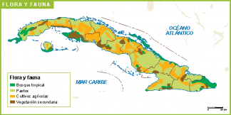 Cuba mapa flora fauna