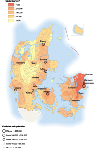 Denmark Population map