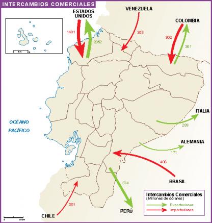 Ecuador mapa intercambio comercial