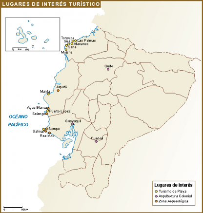 Ecuador mapa interes turistico