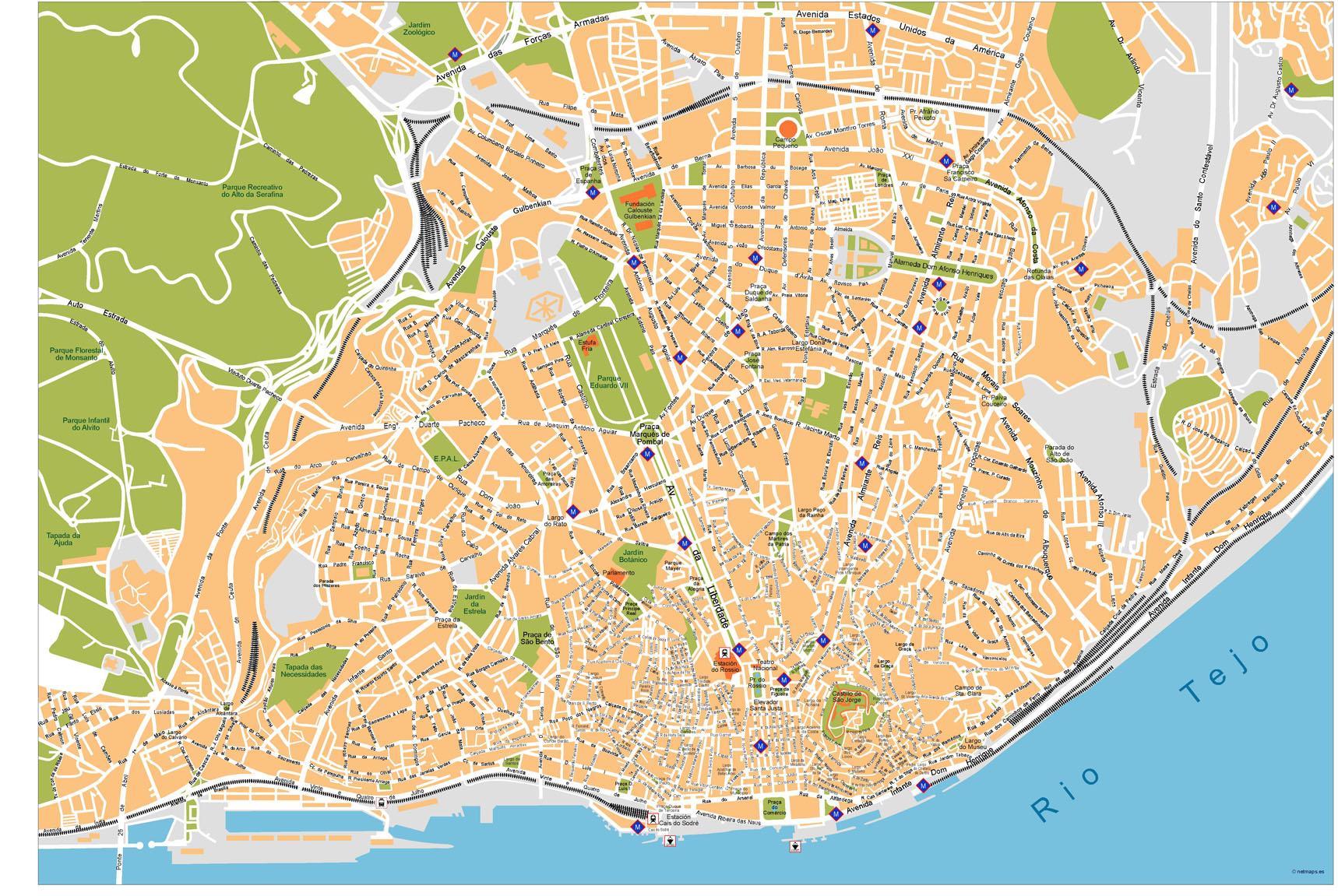 mapa lisboa vector City Vector Maps   Netmaps. Mapas de España y del mundo   Part 5 mapa lisboa vector