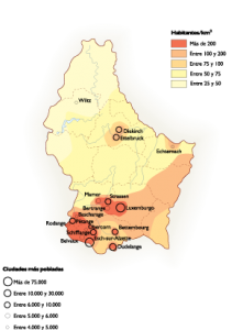 Luxembourg Population map
