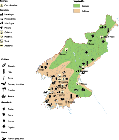 North korea Economic map