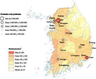 South Korea Population map