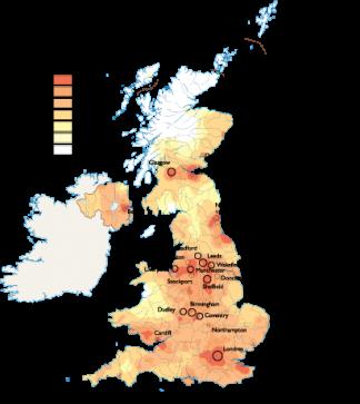 United Kingdom Population map