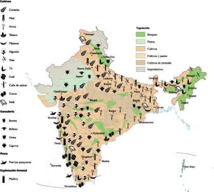 india Agricultural map