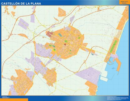 Castellon De La Plana Mapa Vinilo