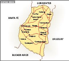 Mapa Entre Ríos