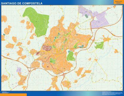 Santiago De Compostela Mapa Vinilo
